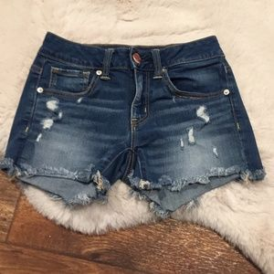 American Eagle Midi Distressed Shorts Dark Wash